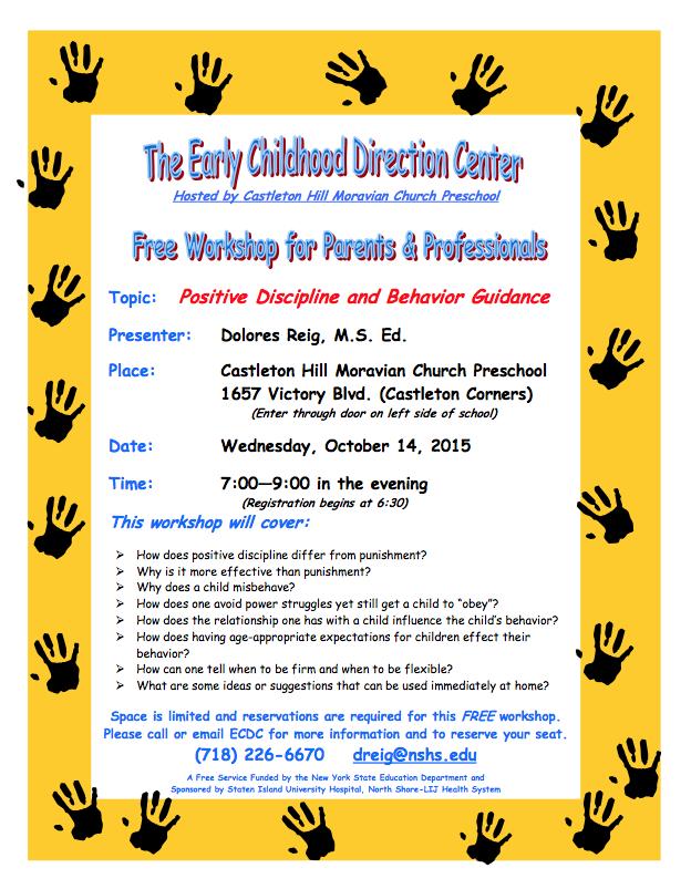 Early Childhood Direction Center (ECDC) Workshops for