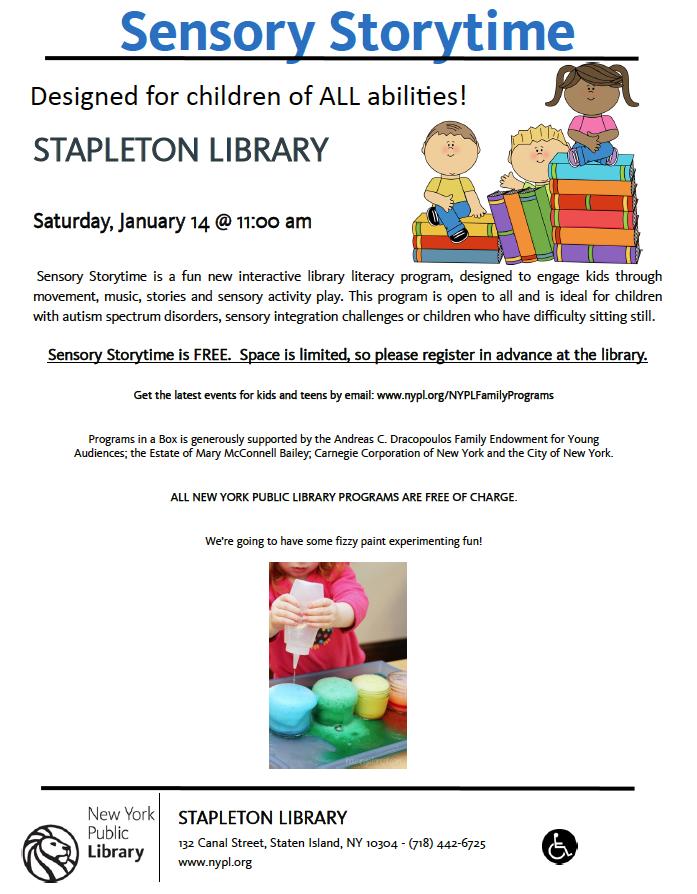 Sensory Storytime at Stapleton Library! | PS 373R Robert