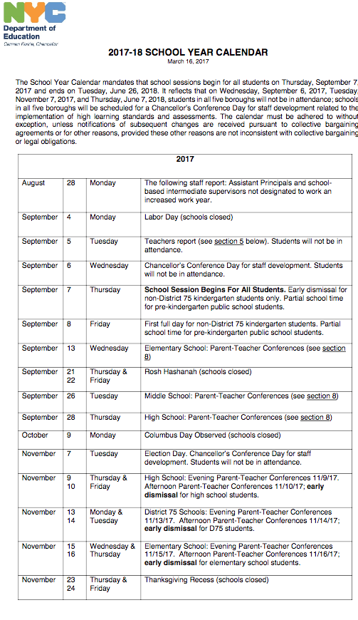NYC DOE 2017 2018 School Year Calendar | PS 373R Robert Randall School