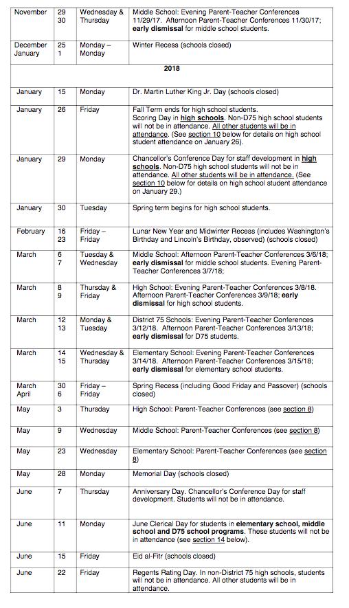 Nyc Doe 2017 2018 School Year Calendar Ps 373r Robert Randall School