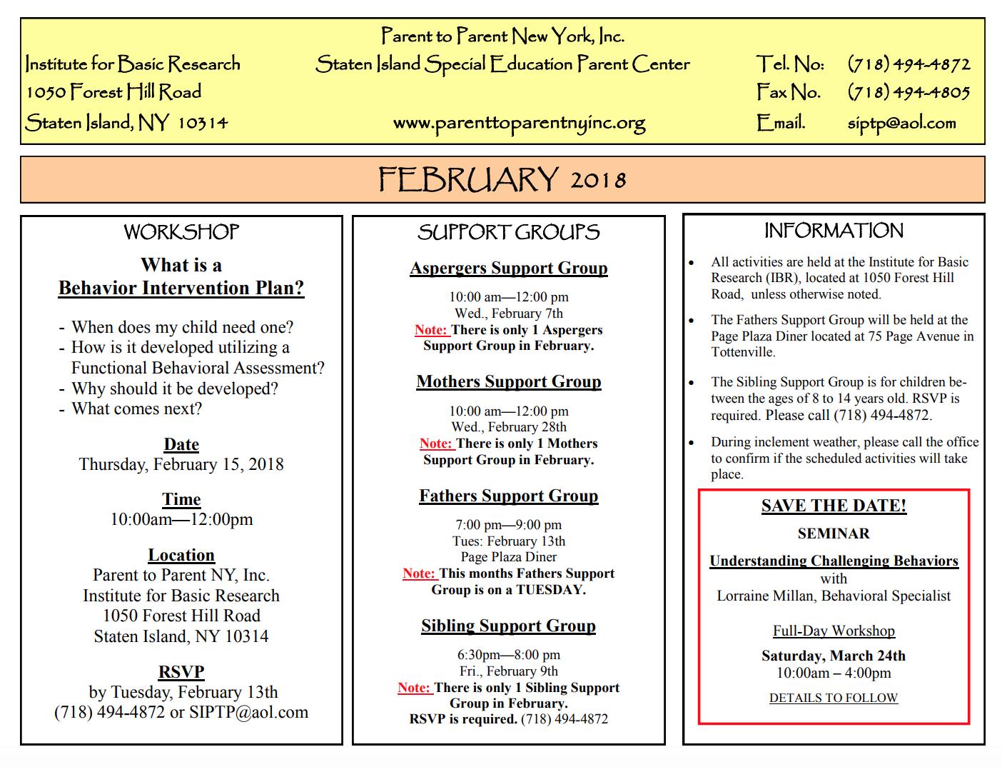 parent to parent february 2018 calendar