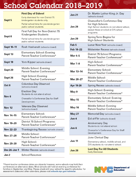Doe Calendar Ps 373r Robert Randall School