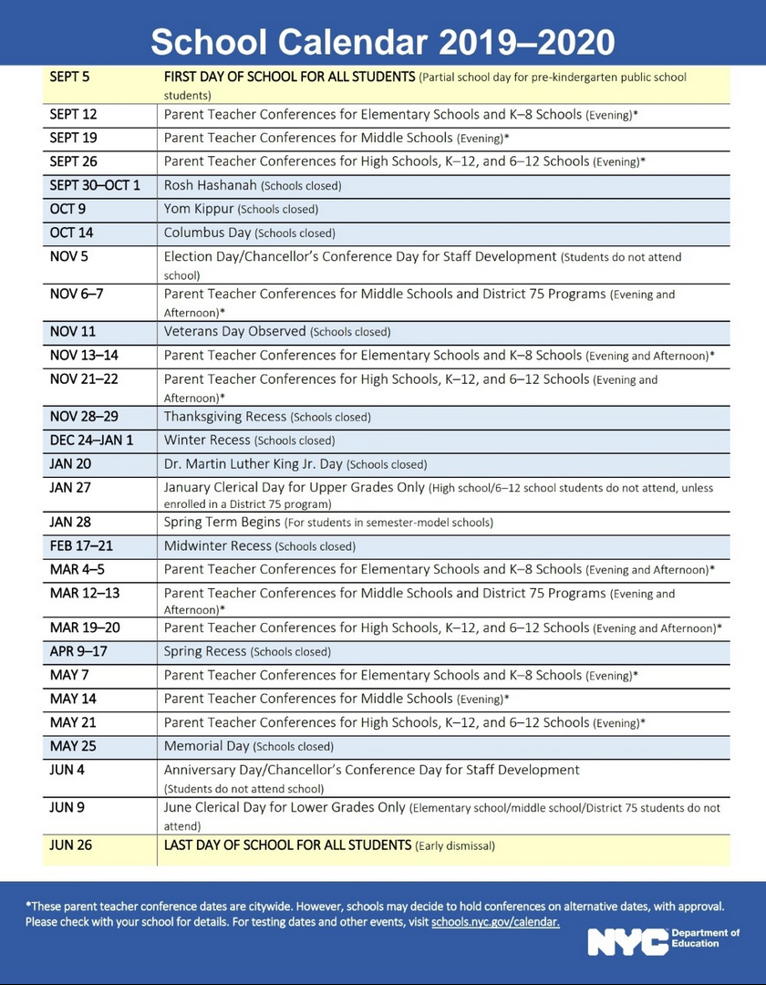 Nyc Board Of Ed Calendar 2020 NYC DOE 2019 2020 School Calendar | PS 373R Robert Randall School